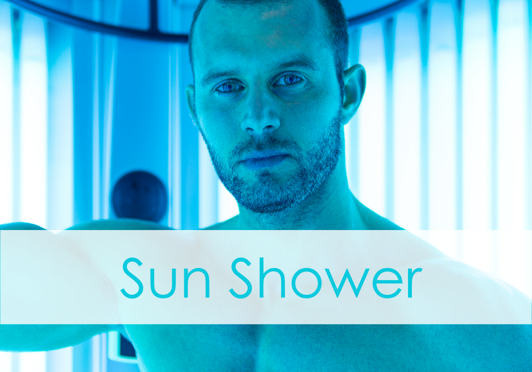 Gay Man in Tanning Booth, Sun Shower