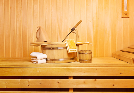 Dry Sauna and Acessories in the Gay Sauna